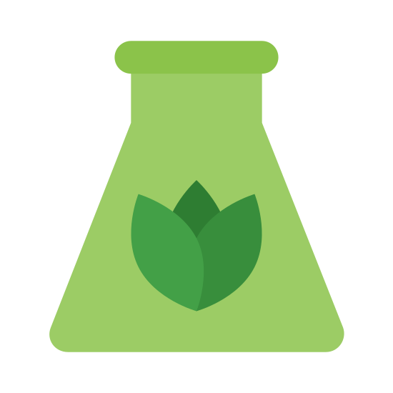 Biomass icon. It looks like a little flower inside of a science beaker. The flower is simply the bulb without the stem and its resting near the bottom center of beaker.