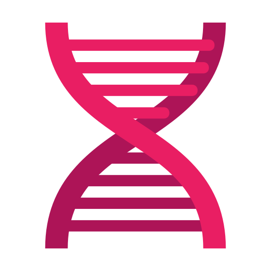 Biotechnologie icon. The Icon of Biotech is a flat 2d helix shape that you command find that represent dna. Between the helix are straight lines that go across the helix structure like steps in a step ladder.