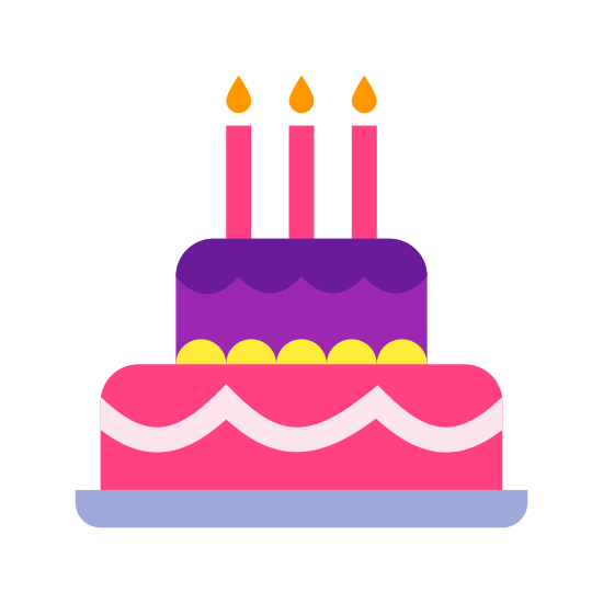 Tort urodzinowy icon. This is an icon for a birthday cake. The cake is on a plate and there is icing on the cake also. The cake has one candle and the candle is lit.