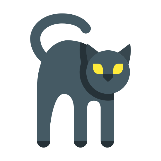 Czarny kot icon. It's a icon of a cat with it's back arched. The cat has glaring eyes. The cat looks mean and angry and possibly scared and startled. The cat's tail is curled up above his arched back. There are no borders surrounding the icon.