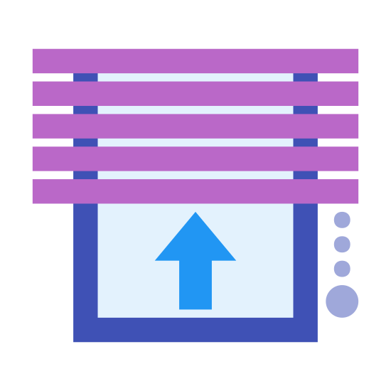 Curtain icon. This is an icon showing instructions on how to operate window blinds. There is a picture of the horizontal slats of the blinds and an upwards pointing arrow.