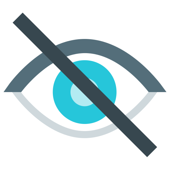 Blind icon. The icon is a depiction of a human eye with a sideways slash put through it at a forty five degree angle. The eye is simply composed of an iris, cornea and eyelids enclosing the sclera. The icon represents a lack of sight, something performed with the eye.