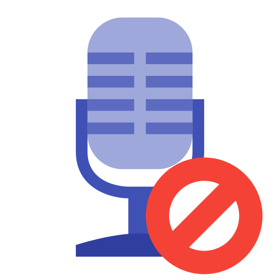 Geblocktes Mikrofon icon. There is an image of a microphone. There is a circle with a diagonal line through it in front of the microphone.