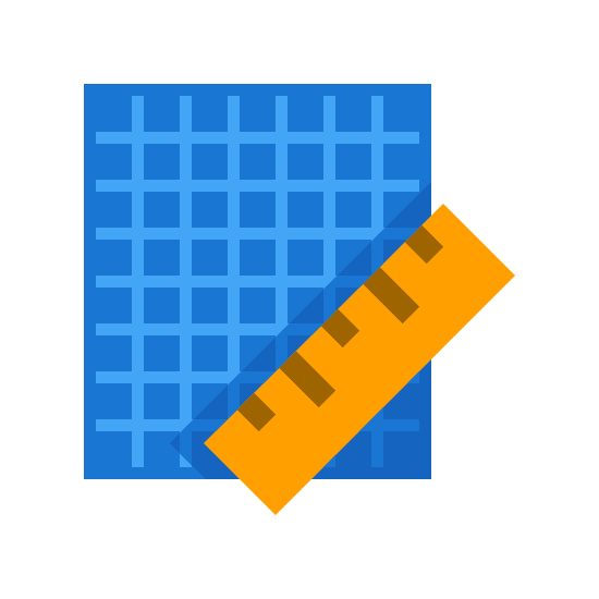 Planimetria icon. The icon is a simplified depiction of a piece of grid paper with a ruler across its southeast corner. The grid paper is an angular piece of paper, with sets of parallel dotted horizontal and vertical lines extending across the expanse of the paper. The icon symbolizes a blueprint.