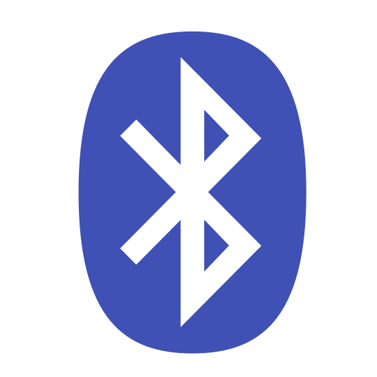 Bluetooth 2 icon. It's a logo for Bluetooth 2. There is a very rounded rectangle surrounding a B made up of triangles with two lines at a 90 degree angle coming out behind the center of the B.