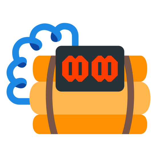 Bomb icon. There is a bomb. it has some wires that look like telephone wires at the top. it also appears to have two outlets facing you. there are 3 sections to the bomb