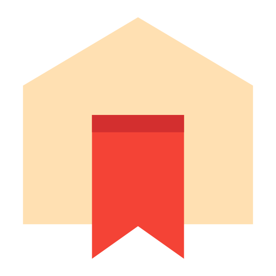 Reserva icon. The icon is a logo of Booking. It is in the shape of a house, with half of a ribbon in the center. The ribbon has the pointed side facing down.