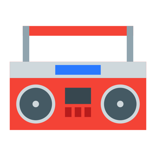 Boombox icon. There is a rectangle with curved edges and a curved top.  There are small curved rectangles inside the first rectangle which are the speakers for the boombox.  The first, larger rectangle has a handle coming out of the top.