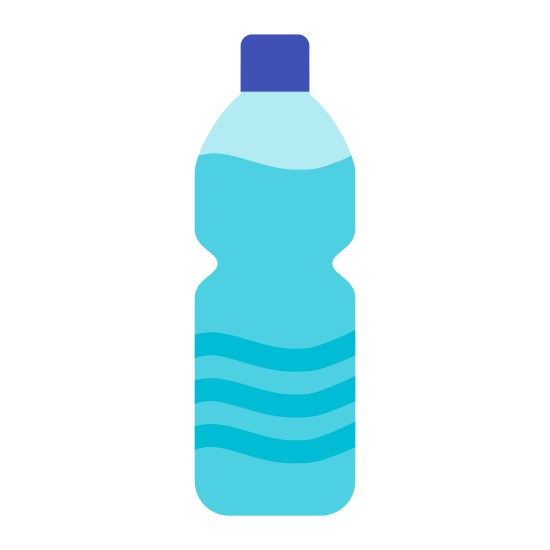 Bottle of Water icon. This is an image of a cylindrical plastic bottle.  While not a perfect cylinder, the top and bottoms of this bottle are slightly larger in diameter than the middle of it where the label is.   At the top of this bottle is a smaller, low profile cylinder for the bottle cap.