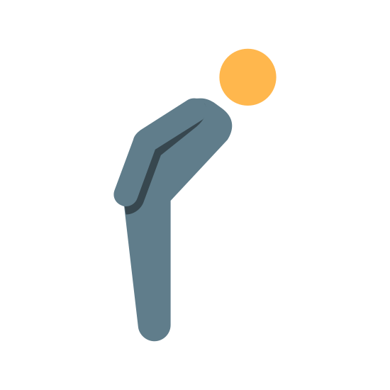 お辞儀する人 icon. This logo shows a drawing of a person shown from the right side of them. In the logo, the person's arm is to the side of them, facing downwards. The person is bowing forwards at the hips, with their back slightly leaning towards the ground, indicating the person is bowing.
