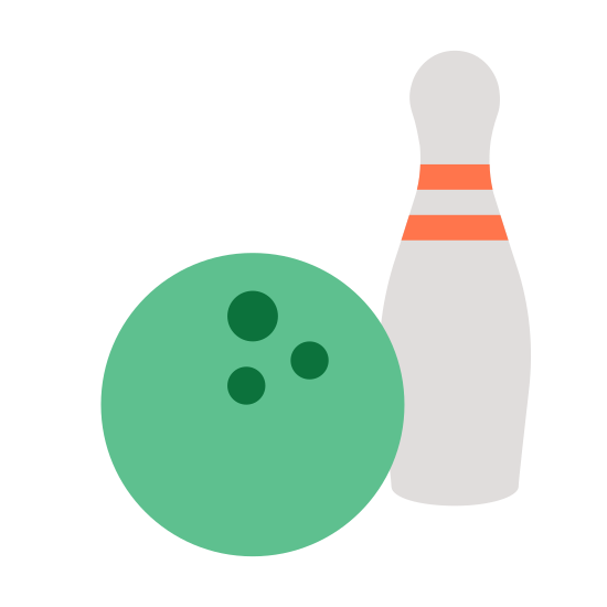 Bowling icon. There is a bowling ball with 3 holes in it sitting next to a single bowling pin. There is two stripes near the top of the bowling pin and not much detail to the ball other then three finger holes near the upper right.