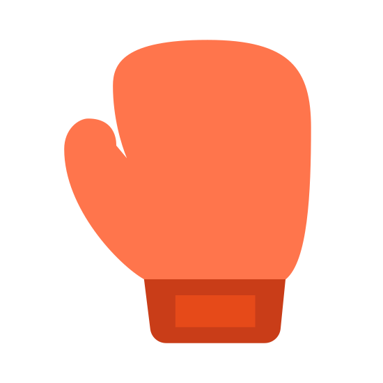 Boxing glove icon. The icon for boxing is an outline of a boxing glove. A boxing glove padded at the end and wider without the individual finger divisions. Its more like a mitten.