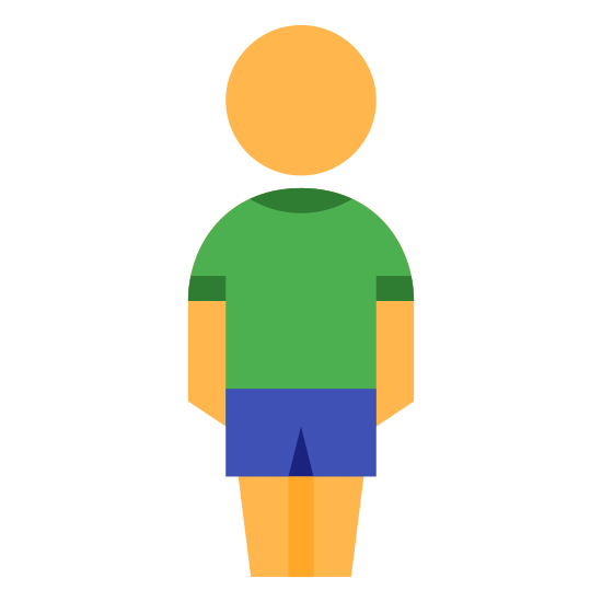 Boy icon. The icon is a picture of a boy. The icon is a very simplistic, almost cartoon version of a person. The person has no neck, just what appears to be a floating head. The person also has what appear to be shorts on.
