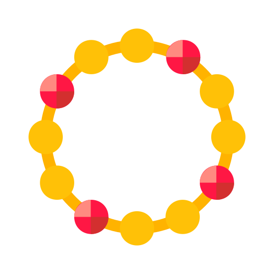 Bracelet icon. The image is of a circle. The circle is composed of little circles that are connected by dashes in between each on that completes the circle. There is nothing in the center of the circle or on the outside of it.