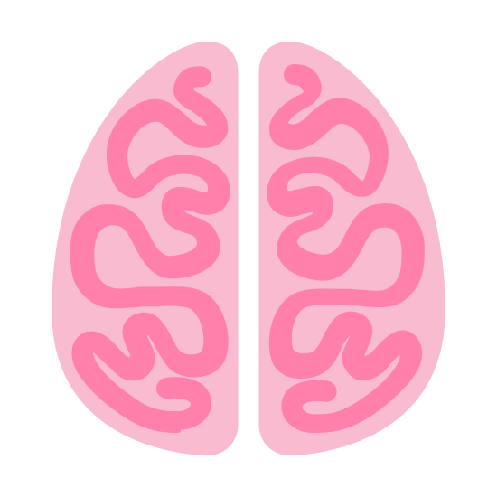 脑 icon. The brain is a important part of the human body that consists of four detailed parts called hemispheres. The brain is spongy, and meaty in appearance, and is very complex.