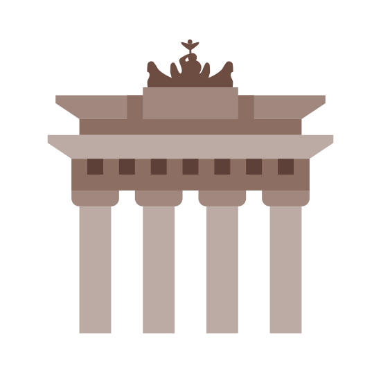 Brandenburg Gate icon. The Brandenburg Gate is shown will stick like shape, which are the columns of the gate. On top of the pillars there are two layers of stonework, and on the top there will be a statue. The icon on the top of the layers represents the chariot pulled on horses.