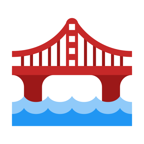 Bridge icon. This image is depicting a sturdy bridge over a body of water. The bridge is clearly defined by its archways and has rail guard on top of the structure with two wavy lines underneath the bridge.