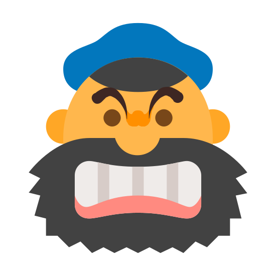Brutus icon. Its a cartoon man's face gritting his teeth and pulling back his gums so we can see the teeth. he has a beard and is wearing a salors hat.  his eyes are black dots and in above him his brow is furrowed in anger.