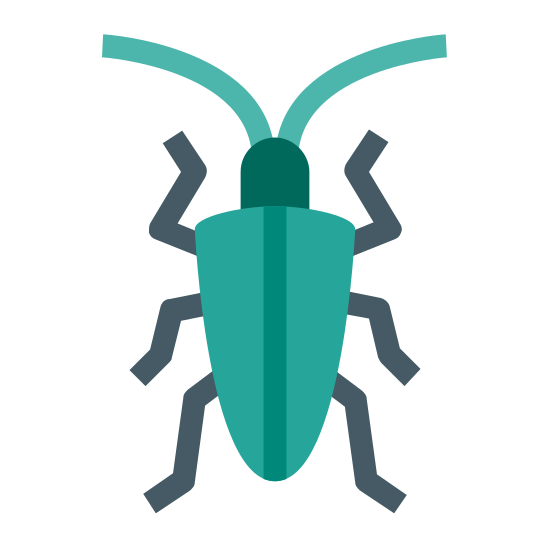 Bug icon. This icon is oval with legs on the sides in the shape of a bug. It has six legs and a head with what looks like one eye at the top.