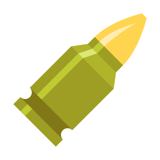Ammo icon. It's a logo of a pointed bullet still in it's casing. The casing is much larger than the bullet as is common in a high powered rifle. The rectangular shaped casing has a little glint of light on it making it look like it is shiny.