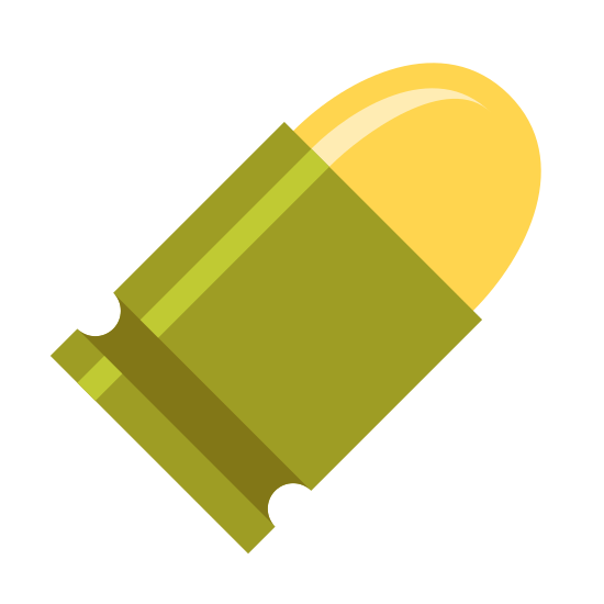 Bullet icon. This is a picture of a bullet that is shaped squarely in the middle, with a circular top and a flat bottom. the square center has a line on it, while the rounded top has a rounded line.