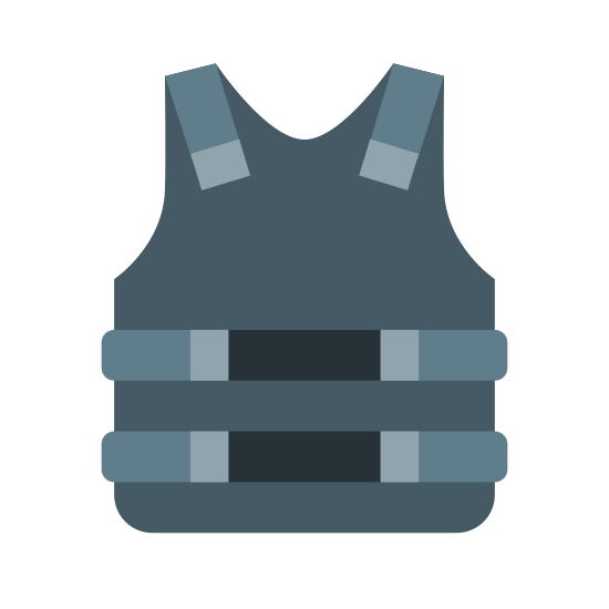 "Bulletproof Vest icon. It is like a shirt, but sleeveless. There is a big square in the middle that is presumably for the armor part of the vest, and it takes up much of the ""stomach"" area. Both sides have two sets of small squares that are aligned on top of one another on either side of the vest."