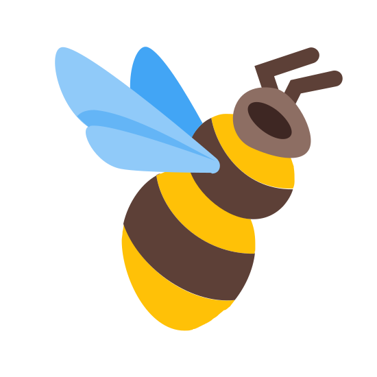 Bumblebee icon. The bumblebee icon is made up of an oblong body that is slightly cinched in the middle. There are four lines on the body to separate the colors. There is an odd shaped circle for the head with a round eye. There are two antennas on top of the head and two wings connected to the back of the body.