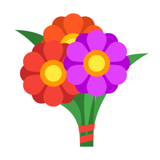 Bukiet kwiatów icon. It's a logo to represent a flower bouquet.  the flowers on the logo are circular with 5 points to symbolize individual petals.  The flowers have a round circle in the middle of them. Also there is a leaf that is growing from the bottom of the logo an pointing towards the sky.