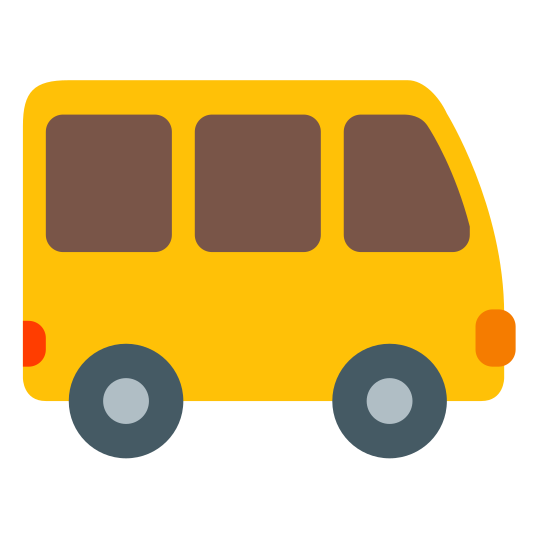 Shuttle icon. It is an icon of a shuttle that looks like a bus. It has two round tires on the bottom and three square windows near the top. The shuttle is facing right.