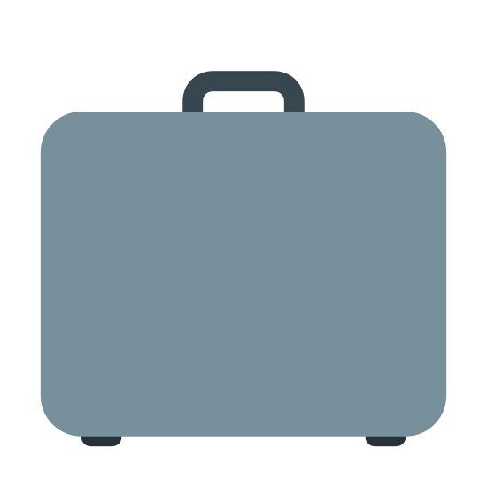 Business icon. The business icon is shaped like a briefcase. It is a square cut in half with a rounded rectangle in the middle of the cut. It has a handle on the top of it.