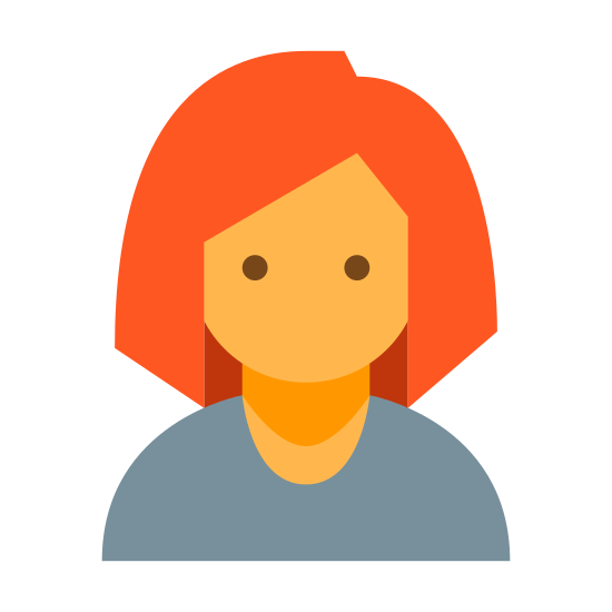 Businesswoman icon. It's a simplified portrait of a head bearing a female haircut, dressed in a collared shirt. It depicts only form the shoulders up.