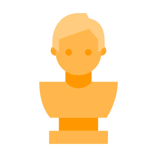 Bust icon. It looks like a small sculpture or a statue. Only the upper body is chiseled out, it's missing arms or any extreme detail, just a blank face and an upper body.