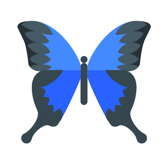Motyl icon. It is an insect called a butterfly. It has 2 wings with large tops on the wings and small parts of wings at the bottom. The wings are connected onto the body in the center.