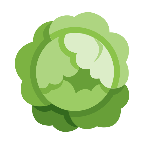 Cabbage icon. This is the logo for cabbage which is in the shape of a head of cabbage. The design has a circle in the middle and the surrounding edges connect to the circle in ridges and half clouds to create the image of leaf lettuce jutting out from the center.