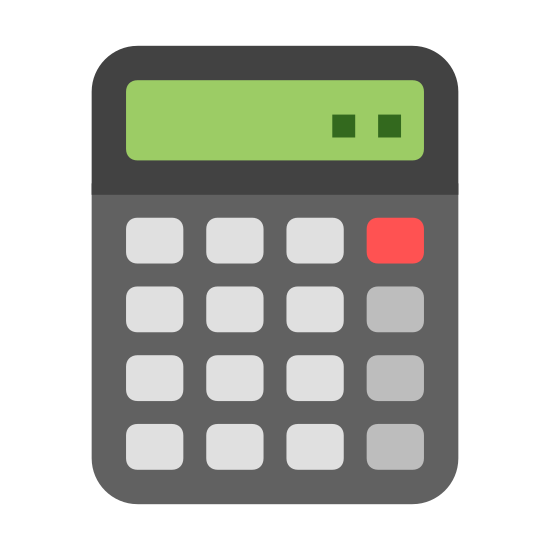 Calculator icon. An icon of a calculator which is one big rectangular square, and in the rectangle there are 12 squares connected to each other to represent the buttons on the calculator. Above the buttons there is one rectangle with three dots to show what is being typed in.
