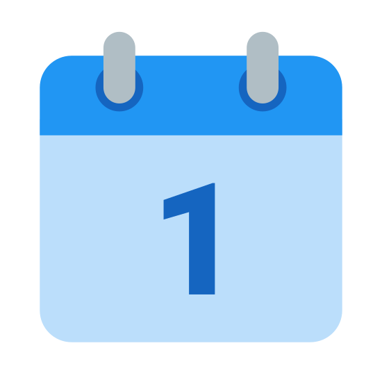 Calendar 1 icon. It's a square with two ring-like objects attached to the top, to indicate that this is a calendar that would flip to change the date each day. Inside the square is the number 1, to signify the 1st day of the month.