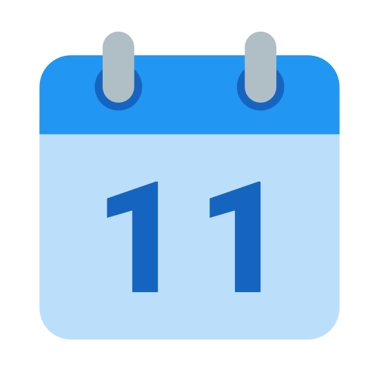 Calendar 11 icon. It is the number 11 contained within a rectangle. It appears to be a page from a calendar that is bound at the top. There are two binding rings represented by two small rectangles on the top. The date, which is 11, is written on the page below the binding.