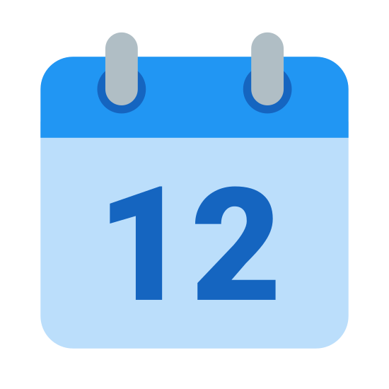 Kalendarz 12 icon. This is a picture of a calendar with the number 12 in the center of it. it's got two rings on the top that hold the pages together and a bar on top where the month's name would be