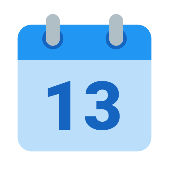 Calendar 13 icon. The image is of a notepad or calendar with the number thirteen. There are two little tabs at the top of a square which would be the binds for the notepad or calendar. The number 13 is just centered in the bigger part of the square sheet.