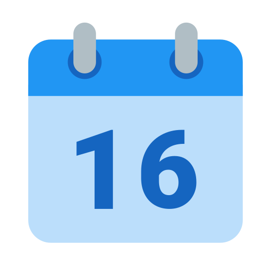 Kalender 16 icon. It's a square with two ring-like objects attached to the top, to indicate that this is a calendar that would flip to change the date each day. Inside the square is the number 16, to signify the 16th day of the month.