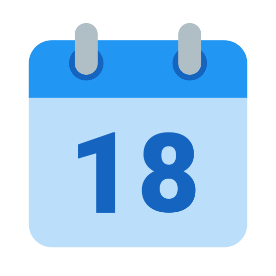 Kalendarz 18 icon. This is logo for calendar 18. This icon has a picture of a page of a calendar and it appears to be hanging.There are two rectangle on the top to denote that it is hanging. In the picture the number 18 is displayed in it.