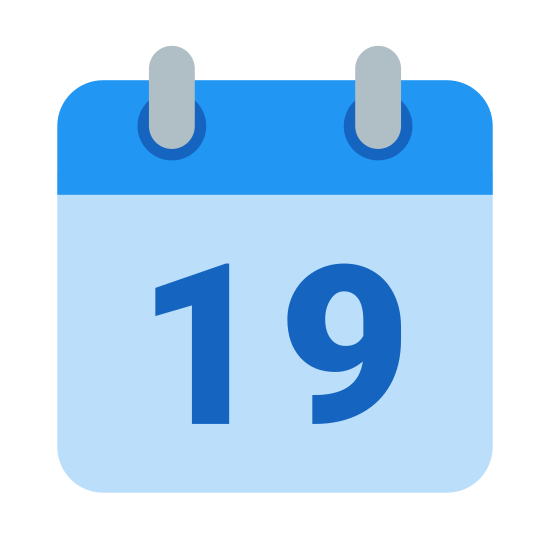 """Calendar 19 icon. This is a picture of a calendar with the number """"19"""" showing on the front. it has two small rings at the top holding the pages together, and a bar that would most likely be for the month's name."""