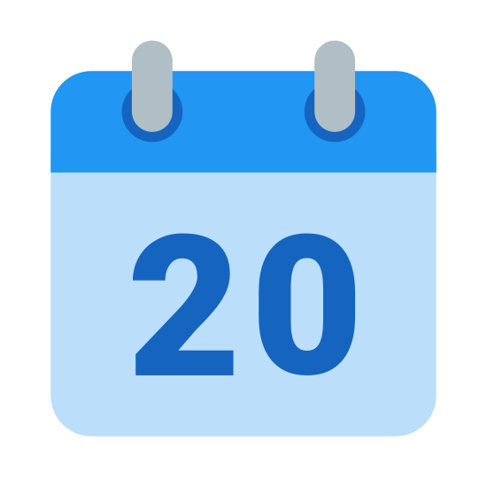Calendar 20 icon. This is the number twenty drawn inside of a square. The square has a line near the top, separating about 1/4 of the square. The top of the square has two little tabs.