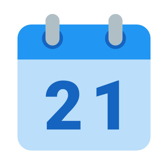 Calendar 21 icon. This is an icon for a square shaped calendar. At the top of the calendar are two rings where each page of the calendar would flip over to the back of the pages. On the calendar is a large '21' for the day meaning that this is not a monthly calendar, but a daily calendar.