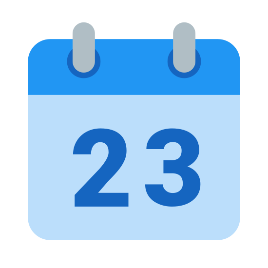 "Calendar 23 icon. It's a logo of a calendar page with two rings on top and then the page hanging down from them. There is a line across the top of the page and in the lower bigger section is the number ""23""."