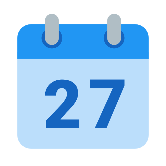 Calendar 27 icon. This is a logo for a calendar. The shape of the calendar is a typical flip daily calendar: it is a square displaying only one number (the date). It displays the number 27 in the center of it.