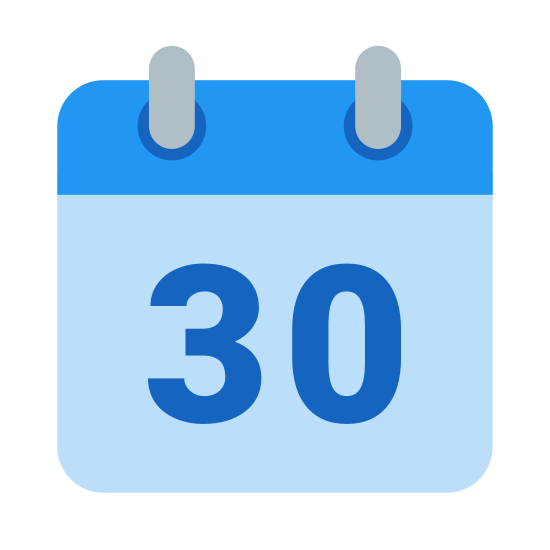 Kalendarz 30 icon. This is a calendar page that is displaying the number thirty. There is no month displayed, nor is there a day. There are, however, what looks like two rings protruding from the top of the page, suggesting that this is a calendar that can be adapted for reuse month after month.