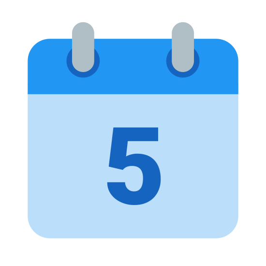 "Calendar 5 icon. A rectangle with the short sides vertical. On top of this a rectangle of the same length, but 1/4 height. 1/4 of the way in from each side are two small upright rectangles, where half extends above the top of the small rectangle and half extends 1/4 into the small rectangle. Inside the large rectangle is the number ""5""/"