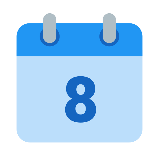 Calendar 8 icon. This icon represents a calendar 8. It is a square shape with the number 8 in the middle. A section is lined off at the top, separating it from the larger bottom portion, with two lines, one on each side.