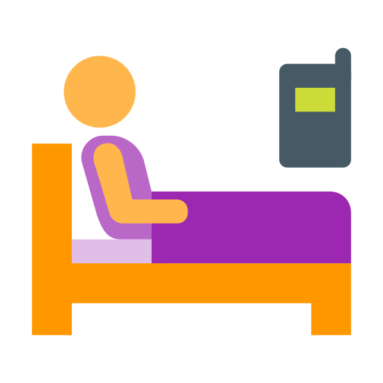 Nurse Call icon. It's a logo of a bed from the side with the headboard to the left. On the bed is a very person sitting up almost leaning back. The person is under the covers. The upper right of the logo is a rectangular image of an electronic device, presumably a cell phone with nine dots representing a dial pad.